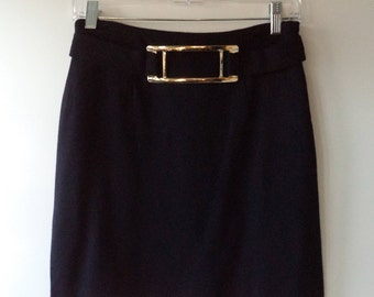 CACHE 80s mini skirt// Black knit gold buckle avante garde USA made holiday Christmas new years vintage// Size small S 3/4 26W