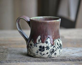 Pottery mug purple burgundy flowers