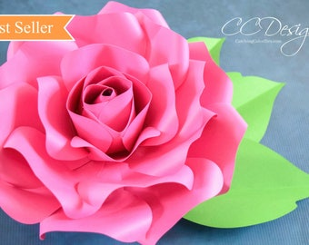 Paper Roses, Giant Paper Rose Template, Printable PDF Flower Templates, SVG Cut Files, Large Paper Flowers, Rose Flower Templates