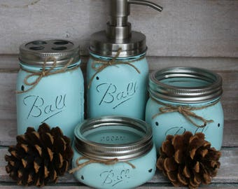 Custom color 4 pc. Mason Jar Bathroom Organizer - turquoise - shabby chic bathroom - stainless steel