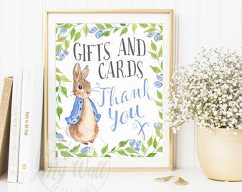 Baby Shower Sign, Printable, Gifts and Cards Sign, Cards and Gifts Sign, Peter Rabbit Baby Shower, Rabbit Baby Shower, Print, Poster,