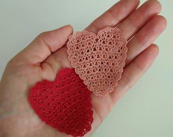 Crochet heart applique, Mini appliqués, Romantic & Sweet, Scrapbook,Decorative Motifs (Set of 2)