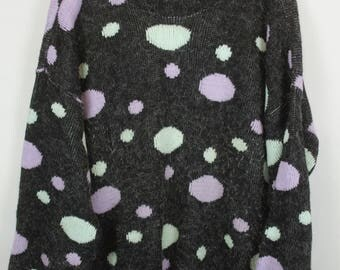 Vintage Sweater, Vintage Knit Pullover, 80s, 90s, grey, colorful dots, oversized look
