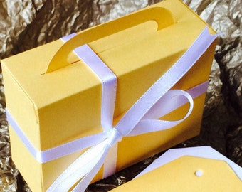 Summer Suitcase Gift Box Set of 10 MARZYCARDS Luxury Card Wedding Favour Boxes Golden Sunshine Yellow