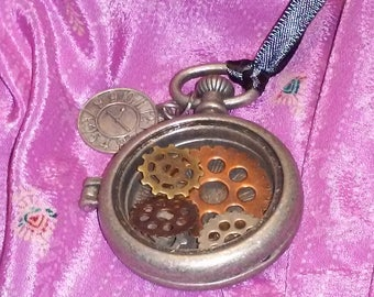 Pocket watch style locket pendant with gears and clock face