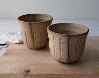 Ceramic Serving Bowl, Small Pottery Bowl, Modern Pottery Bowl, Black Ceramic Bowl, Herbal Tea Bowl, Ceramic Planter, Beige Ceramic Bowl