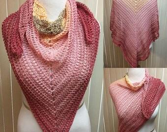 Pink Shawl, Mauve Shawl, Crochet Shawl Wrap, Lightweight Summer Shawl, Spring Shawl, Evening Shawl, Gifts for Her, Women's Shawl Wrap