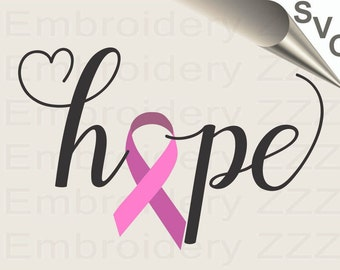 Hope Breast Cancer SVG, Awareness Ribbon SVG file, Hope SVG, cancer svg, hope printable file, hope cuttable design, hope silhouette file