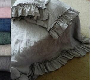 Linen Ruffled set Duvet Cover+2 ruffle Pillowcases ruffled duvet cover linen bedding shabby chic natural Bedding white bedding gift for mom