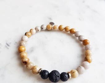 You've Got This Diffuser Bracelet - Fossil Jasper & Lava