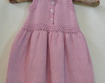 Hand Knitted Lavendar Summer 100% Cotton 12 Month Old Dress