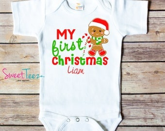 My First Christmas Shirt Gingerbread man Baby Bodysuit Personalized with name and Year Baby Boy or Girl Gift
