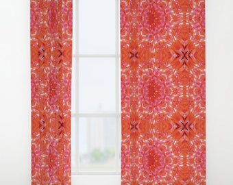 """Red Blossom Window curtains ~ Single or Double panel 50""""x84"""" each ~ Bedroom, Living room modern home accessories ~ Floral, Abstract, Art"""