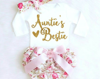 Baby Shower Gift, Aunties Bestie, Baby Girl Clothes, Aunt Baby Shower Gift from Aunt, Funny Aunt Baby shirt, aunt baby girl outfit Boho 24