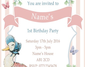 Personalised Jemima Puddleduck traditional Party Invitations and Matching Printed Envelopes x 10