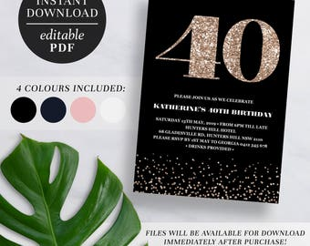Printable 40th Birthday Invitation Rose Gold Glitter | Editable Template | Glitter | 40 | Forty | 40th Birthday Invite | Navy | Pink | Black