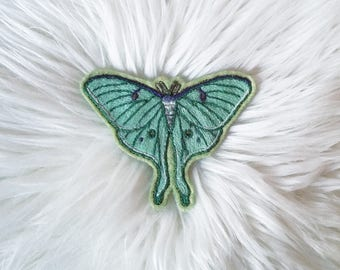 Luna Moth Patch - Hand Embroidered, Sew on Patch, Textile Art, Hand Stitched, Moth, Entomology