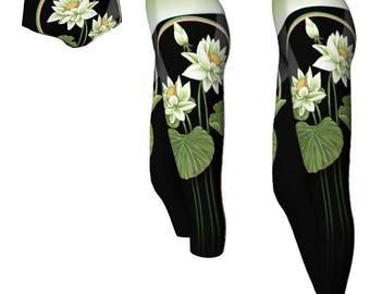 Lotus Blossom Yoga Shorts or Leggings - Yoga Leggings, Cropped Leggings, Short Shorts, Athletic Wear, Lotus Flower, Water Lily, Rainbow