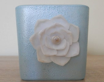 Seashell Flower Candle Holder, Beach Candle Holder, Blue Candle Holder, Beach Wedding Candle Holder