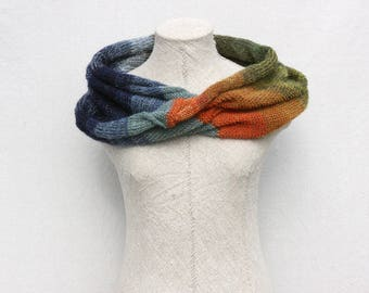 Bohemian autumn scarf / Blue evening shawl / Chunky scarf for fall /  Large mohair shawl / Fall loop scarf / Mobius cowl - Tirelis 2