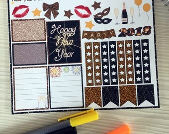 New Year's Eve Weekly Kit Planner Stickers