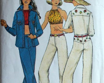 1970s Simplicity Vintage Sewing Pattern 6400, Size 11/12; Young Junior/Teens' Shirt, Jeans, and Halter Top