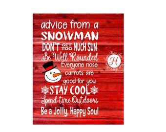 Advice from a snowman Be jolly DFX SVG Cut file  distress Christmas Cricut explore scrapbook vinyl decal wood sign  cameo t shirt