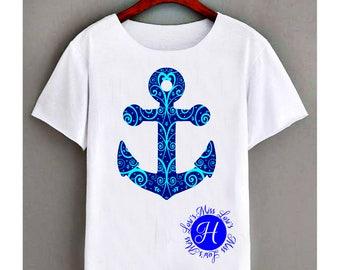 Anchor filigree Fancy swirl   Nautical Navy SVG  DFX  cut File  decal  scrapbook vinyl decal wood sign t shirt cricut cameo