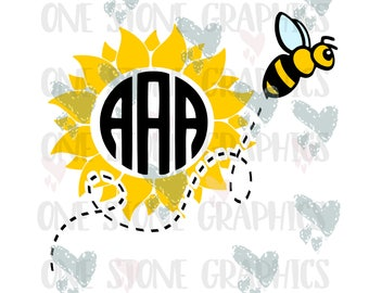 Bee and flower monogram svg,eps,dxf,jpeg,bee,flower,sunflower,sunflower svg,bee svg,bee monogram svg,flower monogram svg,monogram frame svg