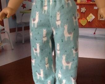 Llama Jamas, flannel sleep pants, aqua print jamas, llama print jamas, comfy flannel sleep pants, 18 inch doll sleep pants