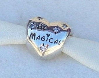 Disney BE MAGICAL HEART Clear Cz Charm/ New / Threaded / s925 Sterling Silver / Fully Stamped