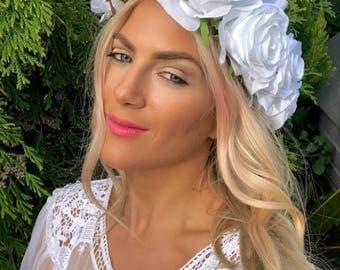 White Silk Rose Flower Crown Hair Head Band
