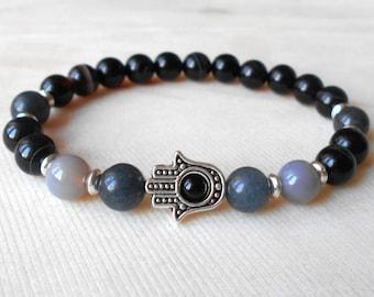 Hamsa Bracelet Protection Bracelet Grey Bead Bracelet for Women Hamsa Jewelry Mala Bracelet Yoga Bracelet Men Gemstone Bracelet Healing
