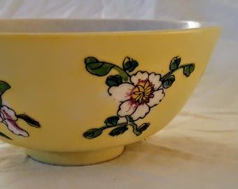 Chinese Yellow Ground Porcelain Bowl with Painted Floral Enamel