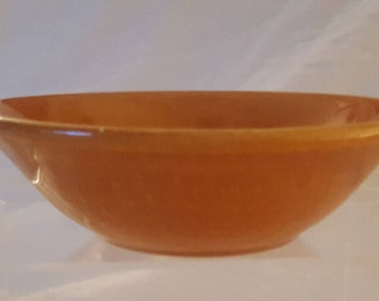 "Vintage Bauer Pottery 6"" Brown Ceramic  Shallow Cereal/Dessert Bowl-marked Bauer USA"