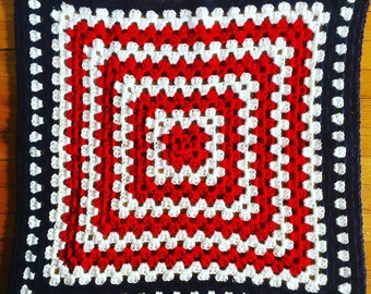 Old Glory Crocheted Baby Blanket, Granny Square Crochet