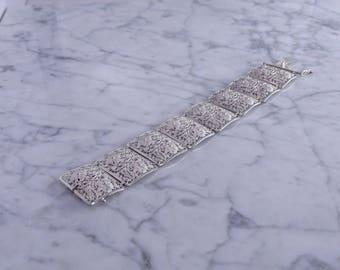"""Floral Filigree Sterling Bracelet (7"""" closed)(b)"""