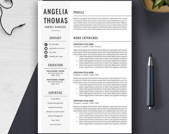 Resume Template Instant Download, CV Template, Cover Letter, Word Resume Design, 3 Page, Creative Modern Professional Simple Resume, Angelia