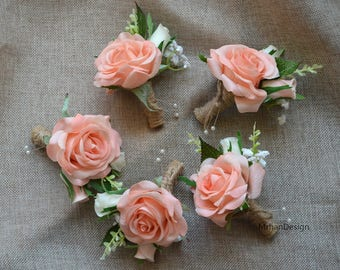 light coral champagne rose boutonniere real touch flowers rose groom groomen silk flower boutonniere - Garden Rose Boutonniere
