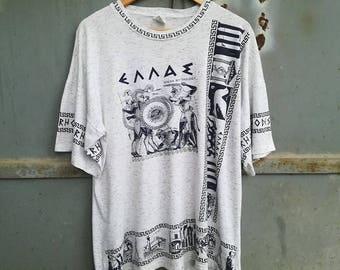 Rhodes Vintage T-shirt, grey Melange Greek mythology 80s 90s