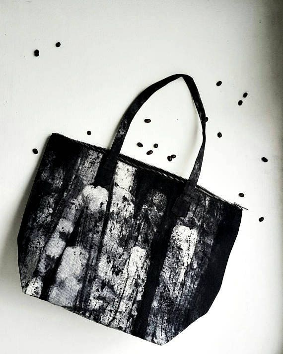 Nero Marble Night&Day - black and white canvas zip tote bag by Canzone