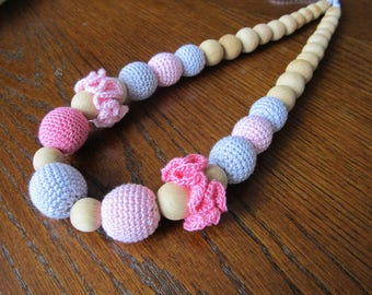 Pink Purple Nursing Necklace Crochet Jewelry Baby Shower Gift Wooden Necklace Breastfeeding Necklace Teething Sensory Toy Bite Beads