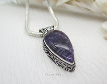 Purple Fluorite Sterling Silver Pendant and Chain