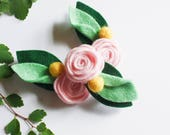 Felt Flower Hair Clip - Pink Rose - Hair Clip - Fairy Flower