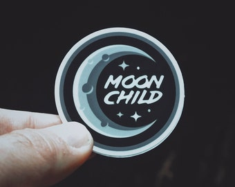 "Moon Child Sticker - 2"" Durable Vinyl Sticker - Weather Resistant - Metaphysical Accessory - Nighttime Black/Gray"