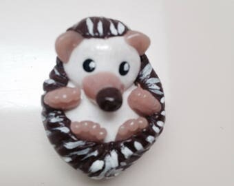 Cute Hedgehog miniature polymer clay figurine