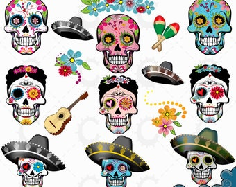 Sugar Skulls Day Of The Dead Clipart Collection