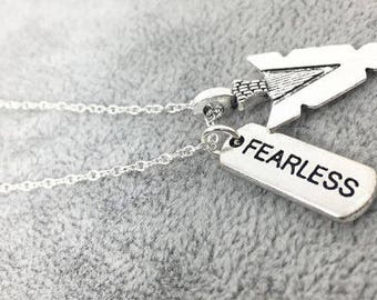 "Silver ""FEARLESS"" Necklace with Arrowhead Pendant,Fearless Jewelry,Taylor Swift,Word Tag,Fearlessness,Inspiration Jewelry,Motivational Gift"