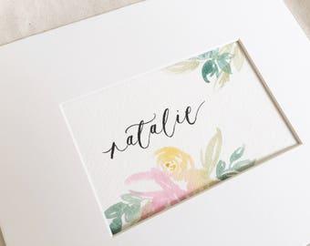 Watercolor Floral Custom Name Print