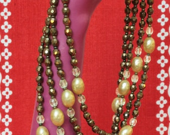 1950's Four Strand Faceted Glass Necklace with Faux Pearls